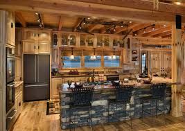inspirational rustic solid log kitchen cabinets with stacked stone