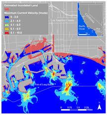 map port map of the port of los angeles ca tsunami scenario velocity