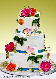 tiered tropical themed wedding cake by jacques fine european