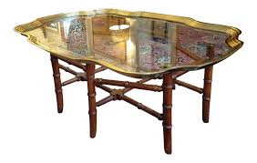 Tray Coffee Table by Baker Glass U0026 Brass Tray Coffee Table With Faux Bamboo Base Chairish