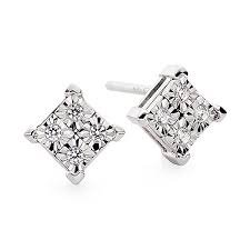 white gold earrings diamond accent in 10k white gold earrings