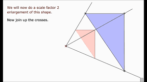 transformations enlargements of shapes center of enlargement
