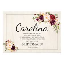 will you be my bridesmaid invite rustic boho chic will you be my bridesmaid cards zazzle