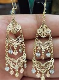 real gold earrings 14k solid real gold earring tri yellow white heart chandelier