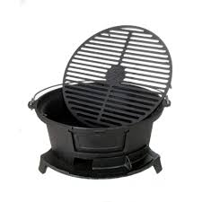 Patio Classic Charcoal Grill by Cajun Classic Round Seasoned Cast Iron Charcoal Hibachi Grill