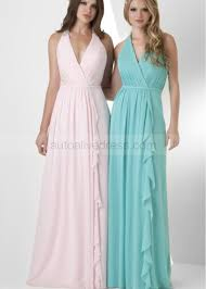 a line v neckline floor length mintpink chiffon prom dress