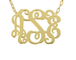 Gold Plated Monogram Necklace Gold Monogram Necklace