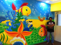 theme wall now painting is aquarium themed wall painting fully