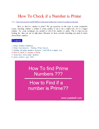 How To Check If You by How To Find Prime Numbers And How To Check If A Number Is Prime