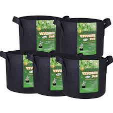 amazon com vivosun 5 pack 5 gallon grow bags heavy duty 300g