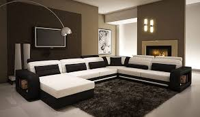 Modern Sectional Leather Sofas Alina Contemporary Black And White Leather Sectional Sofa Vg45