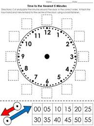 time clock cut and paste activity telling time to the nearest 5