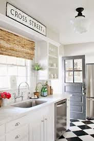 Kitchen Cabinets Cottage Style by Letter Wall Art With Wood Roller Window Shade Feat Checkered Floor