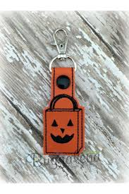 halloween treat bag key fob embroidery design with snap tab