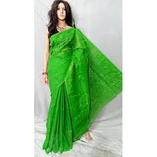 dhakai jamdani cotton party wear green dhakai jamdani saree rs 1450