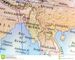 Dia Map Geographic Map Of Burma Bangladesh And Laos Country With