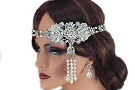 gatsby headband bridal forehead headband vintage style wedding headpiece forehead