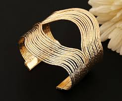 air bracelet 2017 designer open gold multi strand wide cuff bracelet metal