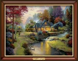 kinkade home interiors glass covered and framed print kinkade style size 17 1 4