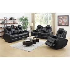Faux Leather Recliner Coaster Delange 3 Piece Faux Leather Reclining Sofa Set In Black