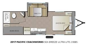2017 pacific coachworks sea breeze ultra lite 23bbs travel trailer