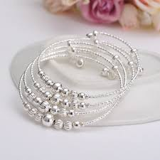 silver beaded bangle bracelet images 12pcs dubai india charm bracelet for women silver beads bangle jpg