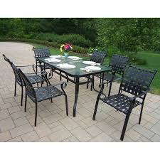 Hampton Bay Patio Dining Set - shop oakland living web 7 piece glass dining patio dining set at