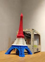 eiffel tower table eiffel tower model with white blue stripe printed by 3d