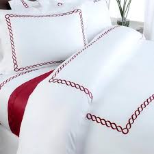 modern hotel red and white embroidered cotton bedding duvet cover