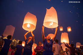 new years lanterns sky lanterns released to celebrate new year of dai ethnic in