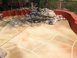 exterior interesting ideas of stained concrete patio to