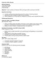 Resume Sle For production editor resume city espora co