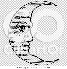 clipart vintage black and white crescent moon royalty free