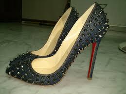 christian louboutin pigalle spike denim 120 heels