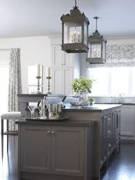 white kitchen island dark cabinets six gray polished iron dining