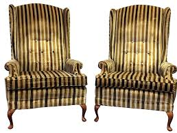 High Back Wing Armchairs Mid Century Tufted High Back Wing Chairs A Pair Chairish