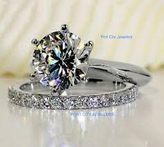 brilliant rings images 3ct center round brilliant cut nscd sona diamond engagement jpg