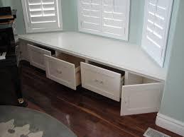 Window Seat Bench - interior living room well liked white teak wood bay window seat