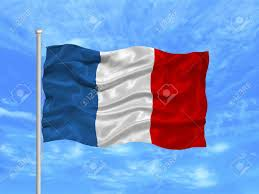 Image Of French Flag Illustration Of Waving French Flag On Blue Sky Stock Photo