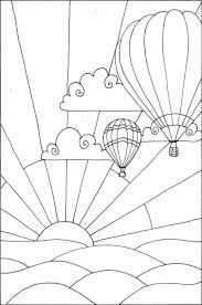 air balloon coloring pages flying sunset coloringstar