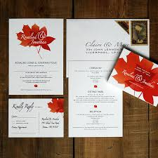 autumn wedding invitations autumn leaves wedding invitations and save the date by feel