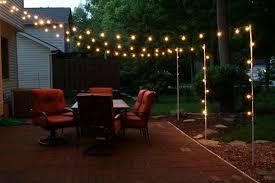 outdoor patio string lights light pole