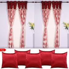 pack of 4 valence long door curtains with 5 cushion covers free