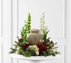 Urn Table L Garden Style Floral Arrangement For Cremation Urn Memorial Table