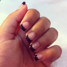 acryllic with painted black tips and gel coating done by hanh yelp