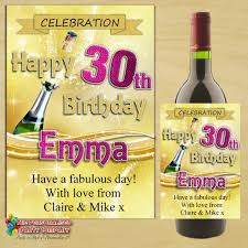 wine birthday personalised happy birthday wine champagne bottle label n71 gold