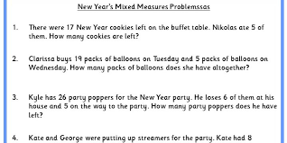 new year u0027s mixed measure word problems classroom secrets