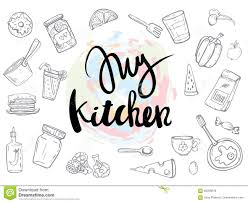 my kitchen related quotes set poster stock vector image 95006678