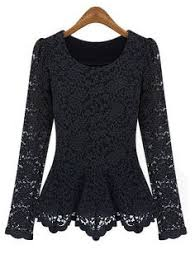stylish slash collar off the shoulder long sleeve solid color lace