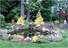 backyards ergonomic backyard pond ideas with waterfall small